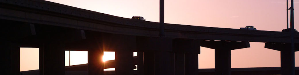 silhouette of overpass